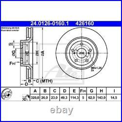 2x ATE BREMSSCHEIBEN Ø320 mm + BREMSBELÄGE SET VORNE TOYOTA AVENSIS T27 2.0 D-4D