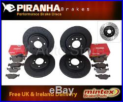 Avensis 2.0D-4D 03-08 Front Rear Brake Discs Black DimpledGrooved Mintex Pads